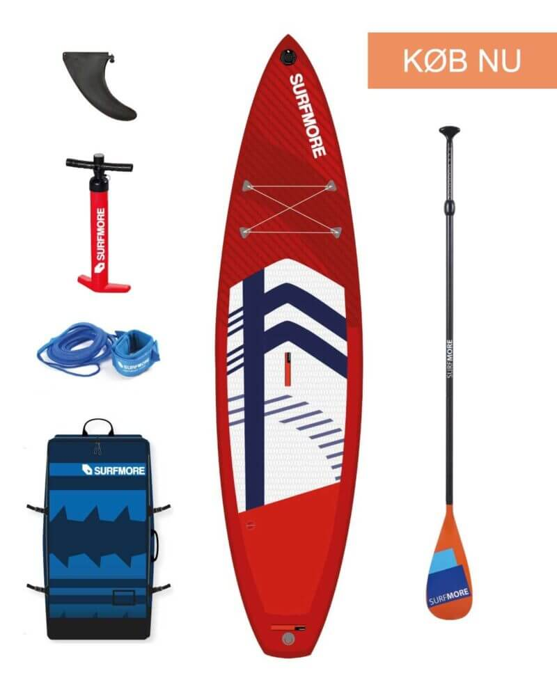 Sup board - oppustelig sup - Touring 11'6 x 31 x 6 - Surfmore - Rød