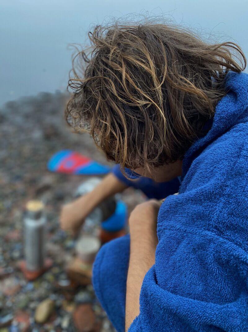 Håndklæde poncho voksne - Surfmore - Blå - 3